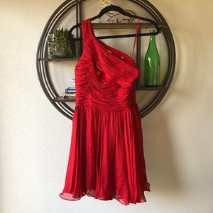 Halston Heritage Red Silk One Shoulder Dress